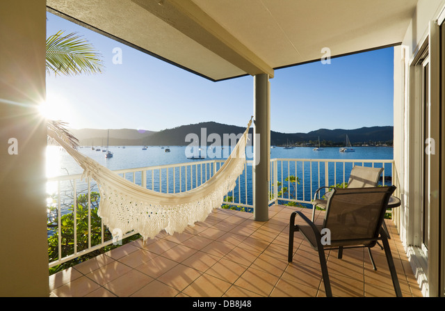 Waterfront views from the Coral Sea Resort. Airlie Beach, Whitsundays, Queensland, Australia - Stock Image
