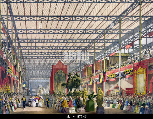 Great Exhibition, 1851. The Foreign Nave at The Great Exhibition of 1851, Crystal Palace, London, UK. - Stock Image