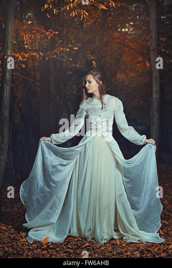 Beautiful woman posing among autumn leaves. Seasonal and fantasy - Stock-Bilder