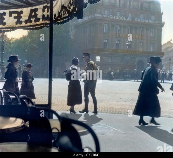 The Last Goodbye, Cafe de la Paix, Paris, 1918 - Stock Image