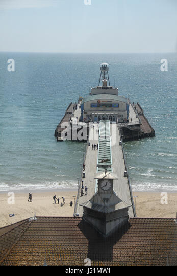 Bournemouth, UK -  13 May: View of Bournemouth pier from the Big Wheel at Pier Approach. General view of the seaside - Stock Image