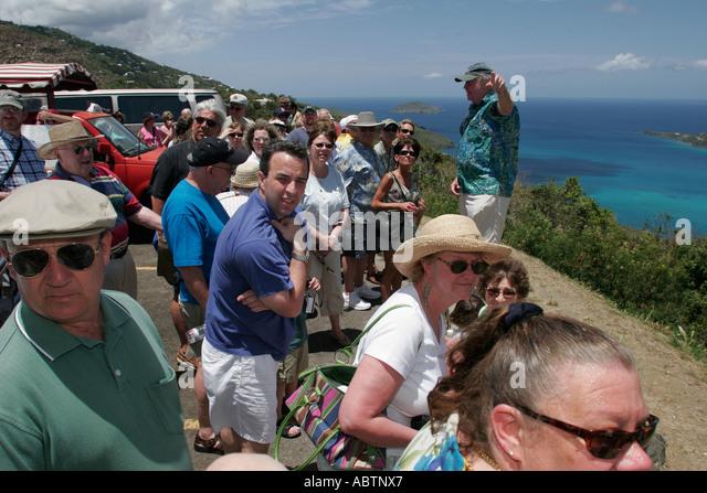 St. Thomas USVI North Side Skyline Drive Megans Bay Overlook Atlantic Ocean tour guide - Stock Image