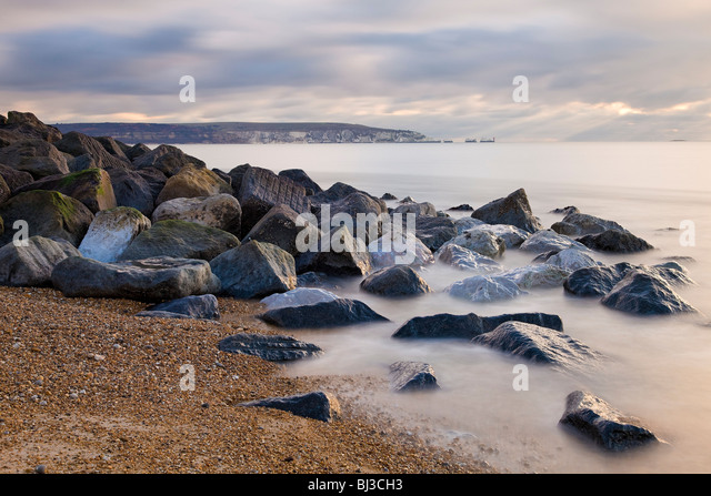 The Needles and Alum Bay from Hurst Spit,Hampshire - Stock Image
