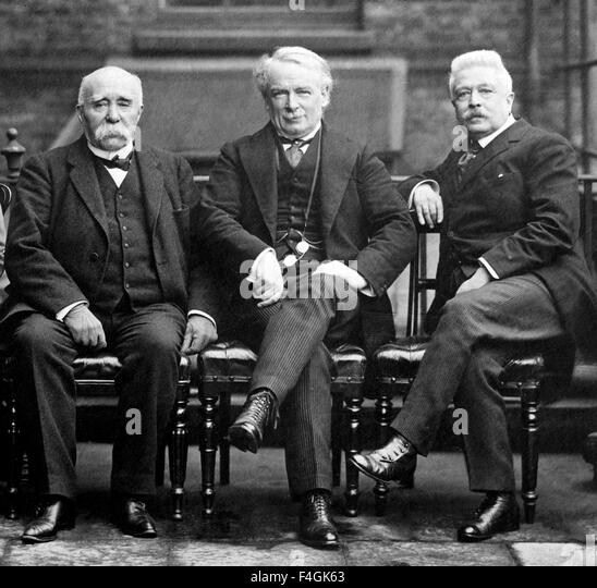 VERSAILLES PEACE CONFERENCE, Paris, 1919. From left: George Clemenceau, French PM, David-Lloyd George, British PM, - Stock Image