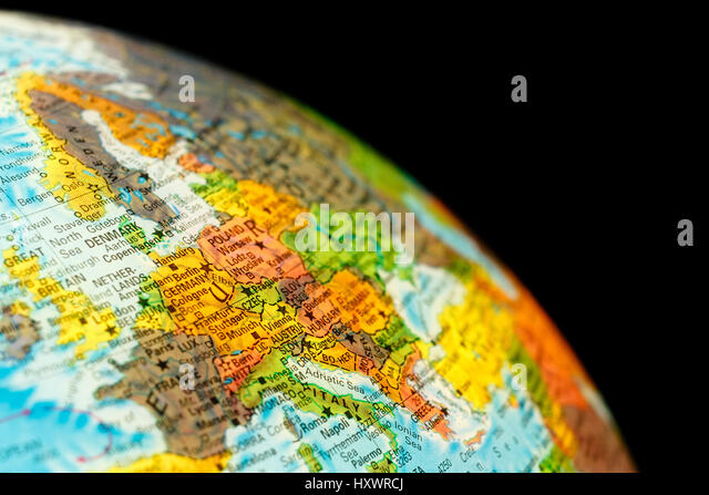 Map Germany . Close-up macro image of German and Danish  map . Selective focus - Stock Image