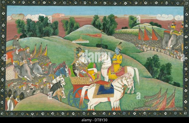 The dialogue between Lord Krishna and Arjuna, c. 1830. Artist: Indian Art - Stock Image