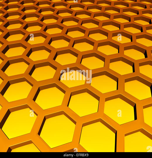 Honeycomb pattern as geometric three dimensional hexagon cell shapes with sweet honey inside as a symbol for golden - Stock Image