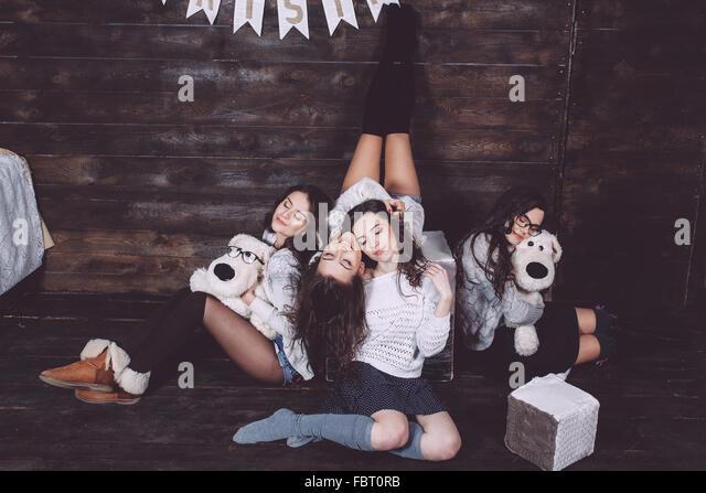 Four charming model posing - Stock-Bilder