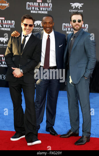 Hollywood, California, USA. 12th April, 2016. Robert Downey Jr., Anthony Mackie and Chris Evans at the World premiere - Stock Image