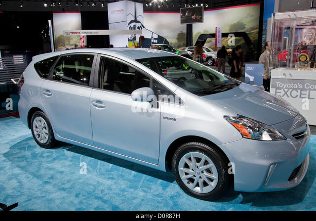 2013 Toyota Prius Hybrid. New 2013 Electric and Hybrid Green cars are featured at the Los Angeles Auto show on November - Stock Image