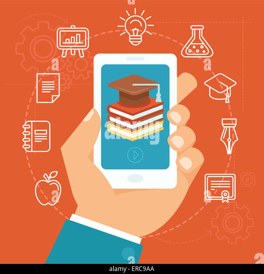 Online education concept in flat style - hand holding mobile phone with educational app in the screen - distant - Stock Image