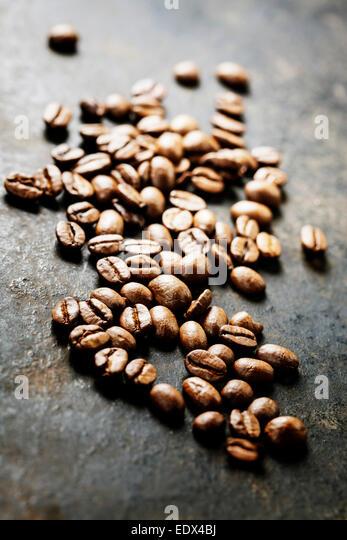 Coffee on grunge dark background - Stock Image