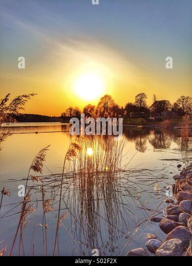 sunset in the stockolm archipelago - Stock Image