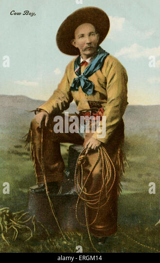 Cowboy with lasso, colorised after an early twentieth century photograph. - Stock Image