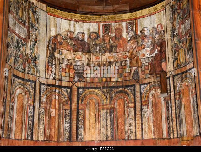 Last Supper, Gol Stavkirka c.1200, Folk/Cultural History Museum, Oslo, Norway 140820_62546 - Stock Image