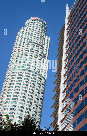 California CA Los Angeles L.A. Downtown Financial District city skyline skyscraper high rise building US Bank Tower - Stock Image