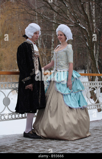 Russian fashion show from Classicism epoch end of the XVIII century - Stock-Bilder