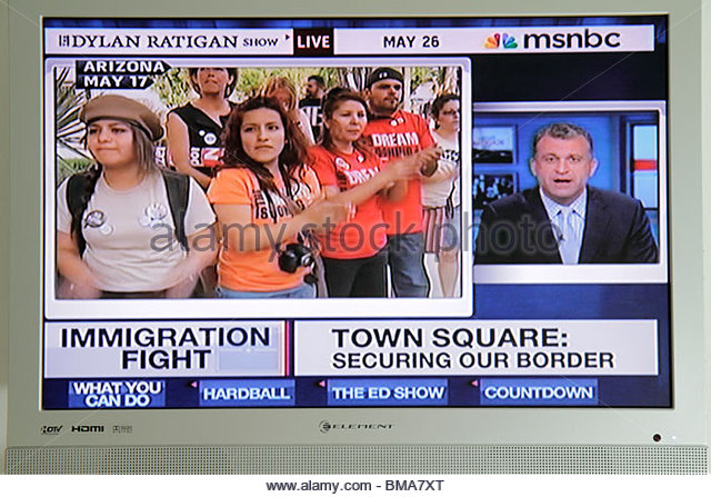 MSNBC Arizona Immigration Law illegal immigrants immigration Mexico border TV television screen flat panel - Stock Image