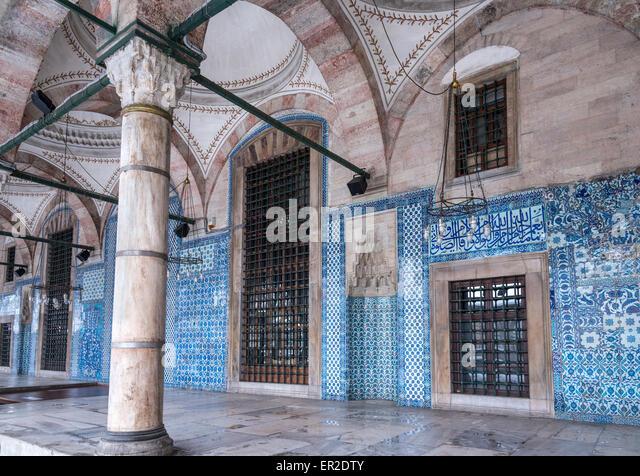 Portico of the 16th cen. Rustem Pasha Mosque, Tiled with Iznik tiles Tahtakale, Istanbul, Turkey - Stock Image