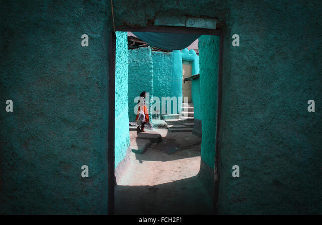 Woman in her house in the old city of Harar, Ethiopia - Stock Image