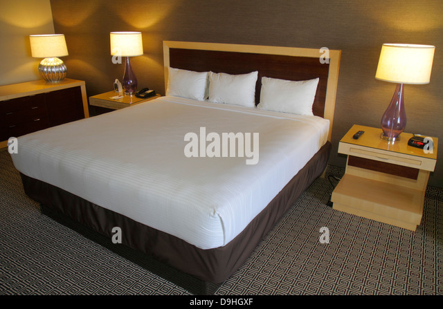 Nevada Las Vegas Downtown Plaza Hotel & Casino hotel guest room suite bed king size - Stock Image