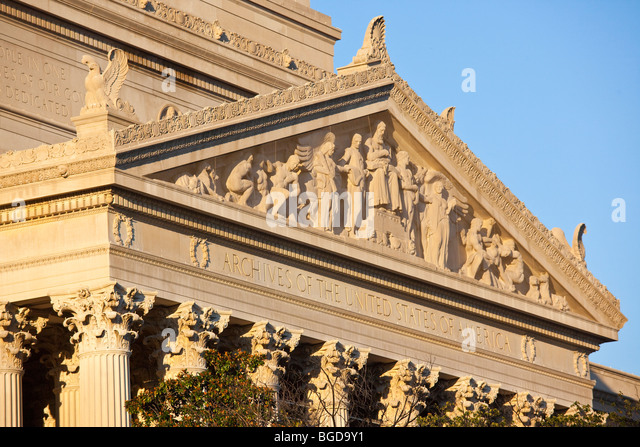 Archives of the United States of America Building in Washington DC - Stock Image