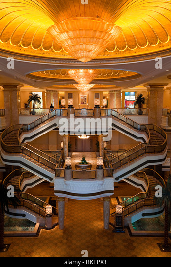 Ornate interior of the Luxury Emirates Palace Hotel, Abu Dhabi, United Arab Emirates, Arabia - Stock Image