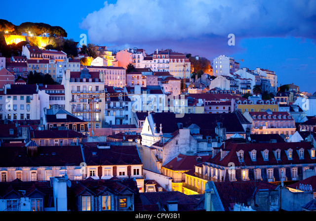 Saint George's Castle and a panorama of Lisbon, Portugal - Stock-Bilder