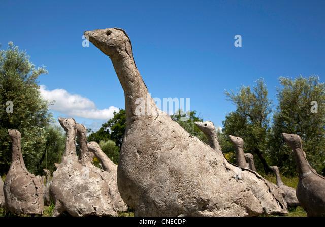 A herd of concrete geese by swiss sculptor Olivier Estoppey appear to walk across a field at the Daniel Spoerri - Stock Image