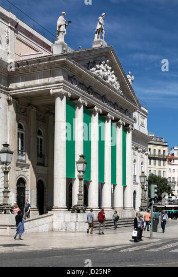 City of Lisbon - Portugal. The Teatro National Theater in Rossio Square. - Stock Image