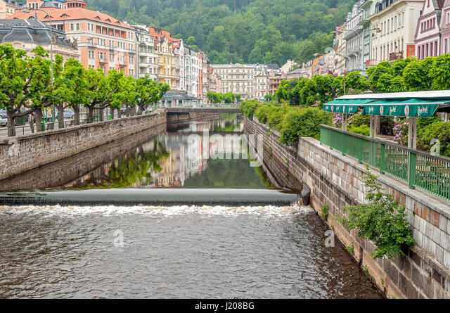 Karlovy Vary, earlier - Carlsbad - spa town in the Czech Republic , located in the west of the historical region - Stock-Bilder