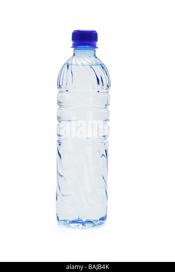 Bottled water isolated on white background - Stock Image
