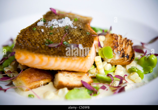 Close up of salmon entree on plate - Stock Image