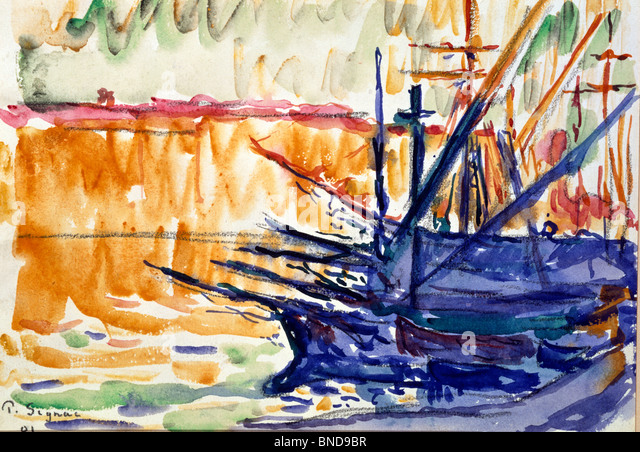 Watercolor by Paul Signac, (1863-1935), Private Collection of Francoise Cachin - Stock-Bilder