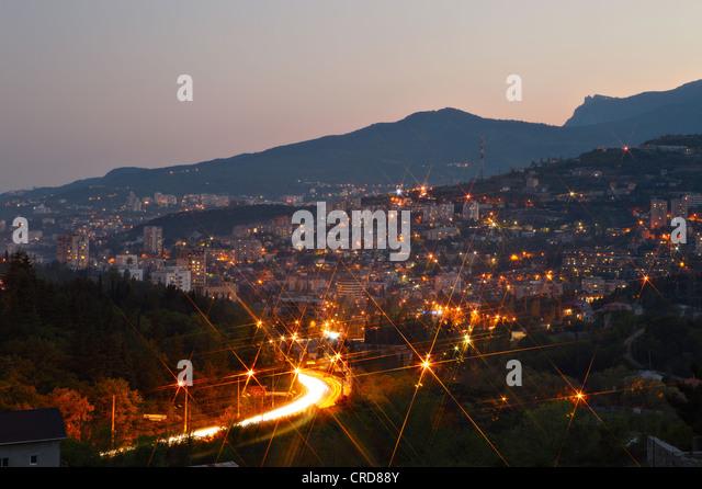 Yalta city lights. Crimea, Ukraine - Stock Image