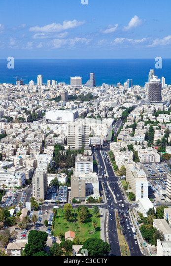 Tel Aviv skyline / Aerial view of Tel Aviv - Stock Image