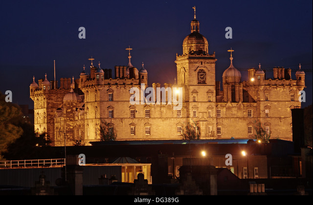 Lauriston Place George Heriots School on Edinburgh Skyline at night Scotland UK - Stock Image
