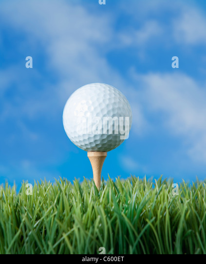 USA, Illinois, Metamora, Golf ball on tee - Stock Image