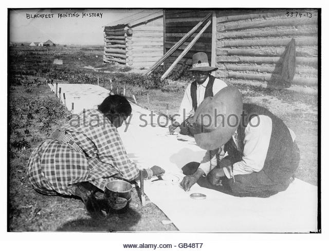 Blackfeet painting history - Stock Image