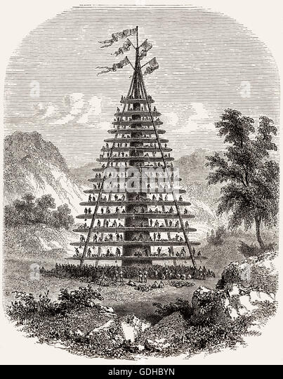 A giant hakari feast stage, M?ori, New Zealand, 19th century - Stock-Bilder