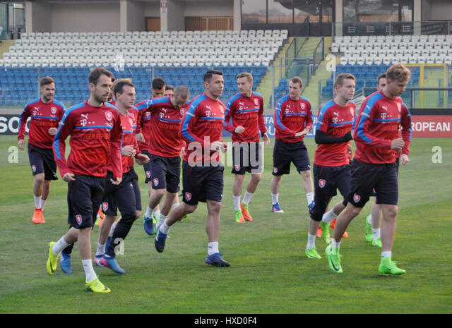 Czech national  football team in action  during the training session in San Marino, March 25, 2017 prior to the - Stock-Bilder
