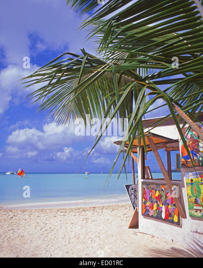 Beach art stall, Jolly Beach Resort, Saint Mary's Parish, Antigua, Antigua and Barbuda, Lesser Antilles, Caribbean - Stock Image