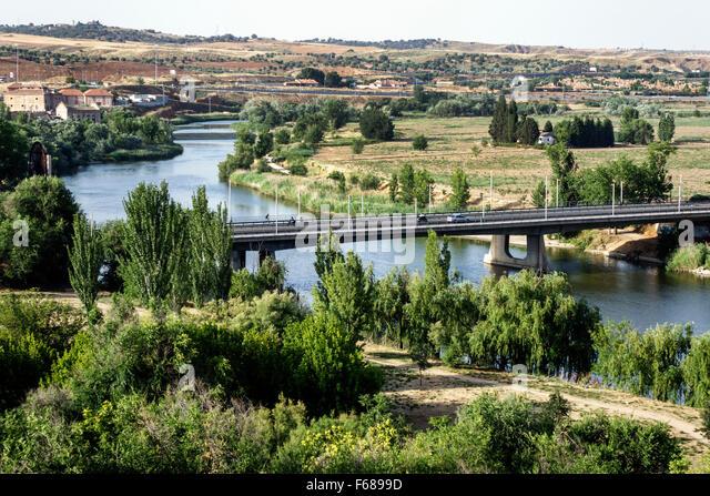 Spain Europe Spanish Hispanic Toledo Tagus River bridge - Stock Image