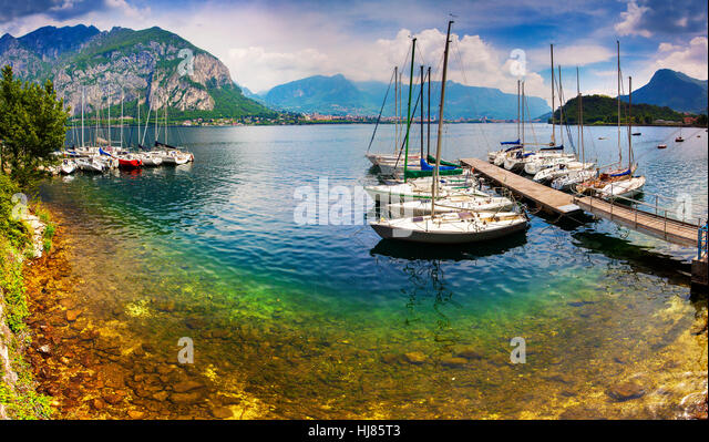 Yacht Club in the town of Limonta in Lake Lecco. Alps, Italy. - Stock Image