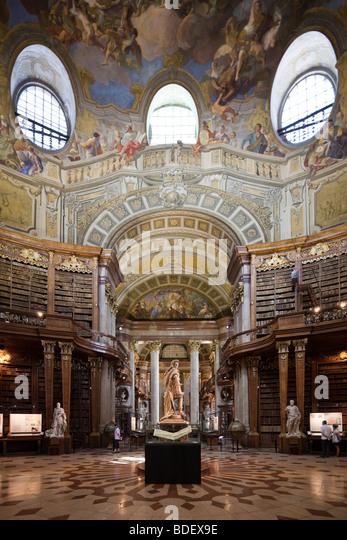 Prunksaal, Austrian National Library, Vienna, Austria - Stock Image