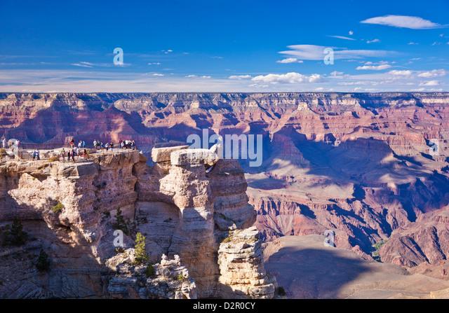 Tourists at Mather Point overlook, South Rim, Grand Canyon National Park, Arizona, USA - Stock Image