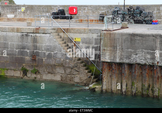 Steps at Newquay Harbour in Cornwall - Stock Image