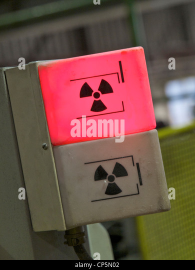 Radioactive radiation hazard warning light in a factory, Groningen, the Netherlands - Stock Image