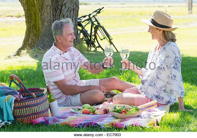 Senior couple drinking wine sitting on picnic blanket - Stock-Bilder