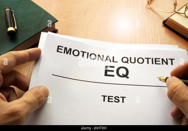 Emotional quotient  EQ test on a office table. - Stock Image